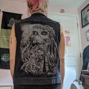 Crust pink style dark denim vest from Dolls Kill
